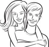 Dessin de tableau blanc - couple de sourire heureux illustration libre de droits
