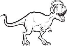 Dessin de tableau blanc - dinosaure de t-rex avec des écouteurs illustration libre de droits