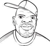 Dessin de tableau blanc - homme de couleur avec la casquette de baseball illustration stock