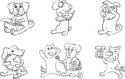 Dessin de tableau blanc - la bande dessinée poursuit des caractères illustration stock