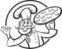 Dessin de tableau blanc - mascotte de chef de pizza de bande dessinée illustration libre de droits