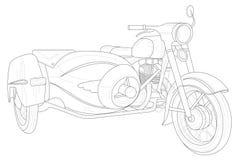 Dessin de vélo de moto en noir et blanc illustration de vecteur