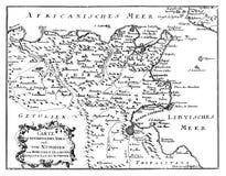 Dessin de vecteur de cru ou gravure de la carte antique de l'Afrique du nord de Roman Empire Times illustration libre de droits