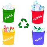 Dessin de vecteur des réservoirs réglés de déchets avec le fond blanc de déchets d'ordure illustration libre de droits