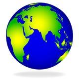 Dessin de vecteur du globe avec l'ombre sur le fond blanc illustration de vecteur