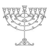 Dessin de vecteur du menorah de Hanoucca d'ensemble ou du candélabre de Chanukiah dans le noir d'isolement sur le fond blanc Meno illustration stock