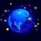 Dessin de vecteur de résumé le globe avec des méridiens sur un fond foncé illustration libre de droits
