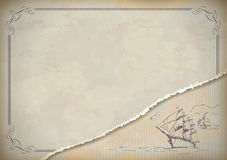 Dessin de voilier de vintage rétro illustration libre de droits