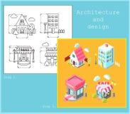 Dessin des bâtiments dans le style plat et le style isométrique illustration de vecteur