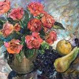 Dessin des fruits savoureux du plat et des roses image libre de droits