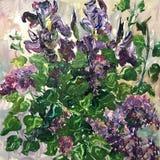 Dessin des lilas et des iris Image libre de droits