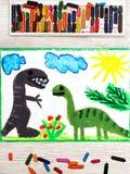 Dessin : Dinosaures de sourire Grand rex de diplodocus et de tyrannosaure photo stock