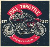 Dessin disponible de moto de coureur de café de tour d'homme Photos stock