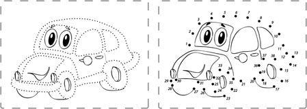 Dessin drôle de voiture avec des points et des chiffres Photographie stock libre de droits