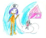 Dessin du ` s d'enfant d'une famille par temps neigeux illustration libre de droits