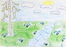 Dessin du ` s d'enfant de bouleau et de fleurs de rivière Dessin coloré et lumineux d'enfant Photo libre de droits