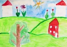 Dessin du ` s d'enfant des maisons et des fleurs Dessin coloré et lumineux du ` s d'enfant Photographie stock