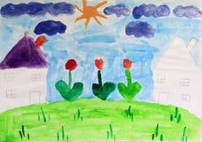 Dessin du ` s d'enfant des maisons et des fleurs Dessin coloré et lumineux du ` s d'enfant Photos stock