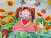 Dessin du ` s d'enfant d'une fille sur un pré avec un tournesol Image libre de droits