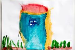 Dessin du ` s d'enfants et vue supérieure de crayons de couleur Photos stock
