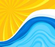 Dessin du soleil avec de l'eau Photographie stock