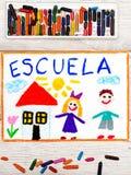 Dessin : Exprimez l'ÉCOLE, le bâtiment scolaire et les enfants heureux photographie stock