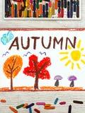 Dessin : Exprimez l'AUTOMNE, arbres avec les feuilles oranges et rouges, champignons images stock