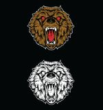 Dessin fâché de tête d'ours images stock