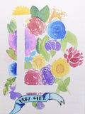 Dessin fait main drôle de la lettre L sur un gisement de fleurs Photos libres de droits