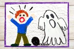 Dessin : Fantôme effrayant avec les chaînes et le petit garçon effrayé image stock