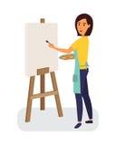 Dessin femelle de peintre sur une toile profession créative Illustration plate de vecteur de conception Photo libre de droits
