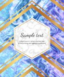 Dessin géométrique d'or sur le fond de marbre de couleurs Cadre d'hexagone Calibres pour l'invitation, mariage, plaquette, annive illustration stock