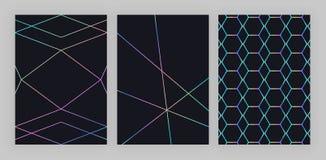 Dessin géométrique olographe à la mode réglé Lignes polygonales colorées sur le fond noir Modèle moderne pour l'insecte, invitati illustration stock