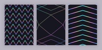 Dessin géométrique olographe à la mode réglé Lignes polygonales colorées sur le fond noir Modèle moderne pour l'insecte, invitati illustration de vecteur