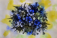 Dessin graphique de belles fleurs Image libre de droits