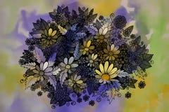 Dessin graphique de belles fleurs Photos libres de droits