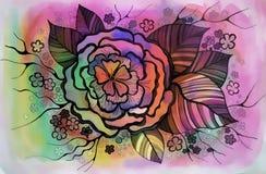 Dessin graphique de belles fleurs Photo stock