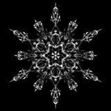 Dessin graphique de symbole de signe d'icône de flocon de neige Flocon de neige blanc d'isolement sur le fond noir Graphique déta Images libres de droits