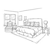 dessin int rieur moderne de chambre coucher illustration de vecteur illustration du retrait. Black Bedroom Furniture Sets. Home Design Ideas