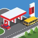Dessin isométrique de station-service Conception plate Illustration de vecteur illustration stock