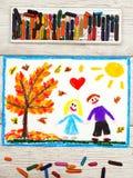 Dessin : L'amour d'automne, couple tient des mains Photos stock
