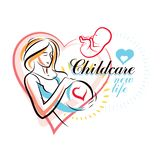 Dessin ?l?gant de silhouette de corps de femme enceinte L'illustration de vecteur de la future maman caresse son ventre Centre de illustration libre de droits