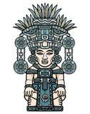 Dessin linéaire de couleur : image décorative d'une divinité indienne Motifs de l'art du Maya d'Indiens illustration stock