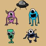 Dessin mignon étranger de monstre avec la collection réglée d'UFO illustration stock