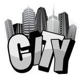 Dessin-modèle de typographie de ville Photographie stock libre de droits