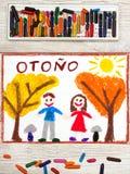 Dessin : Mot espagnol AUTOMNE, couple de sourire et arbres avec les arbres jaunes et oranges Image libre de droits