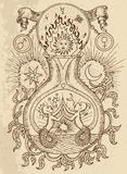 Dessin mystique avec des symboles spirituels et alchimiques, Gémeaux de signe de zodiaque avec la lune et soleil sur le fond de t illustration stock
