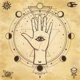 Dessin mystique : main divine, tout-voyant l'oeil, cercle d'une phase de la lune Image libre de droits