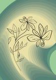 Dessin noir de fleur sur de résumé le fond de vert swirly Images libres de droits