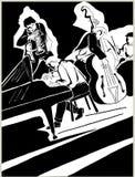 Dessin noir de stylo d'un quartet des musiciens de jazz illustration libre de droits